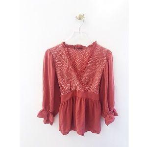 bcbgmaxazria / pink polka dot wrap ruffle blouse